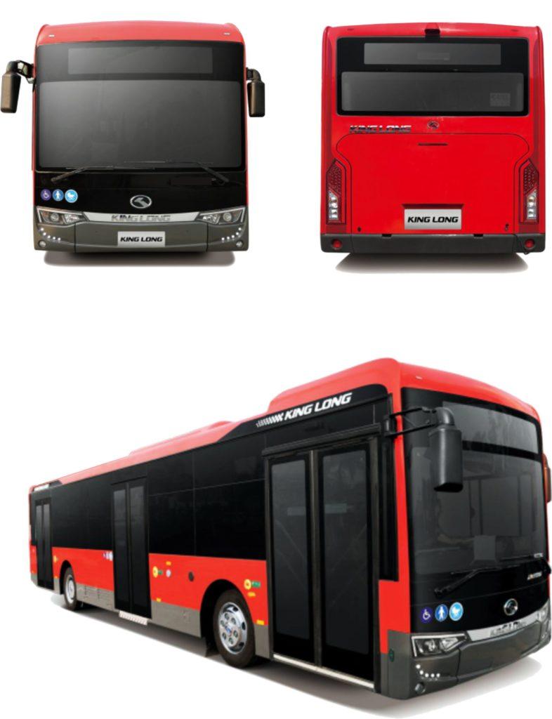 diferentes vistas de un autobús urbano king long b12